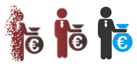 Vector Euro banker icon in dispersed, dotted halftone and undamaged entire versions. Ilustração