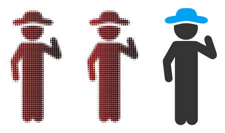 Vector gentleman opinion icon in dispersed, pixelated halftone and undamaged solid versions. Disappearing effect involves rectangular scintillas and horizontal gradient from red to black. Ilustração