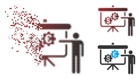 Vector international banking project icon in dispersed, dotted halftone and undamaged solid variants. Disappearing effect uses rectangular dots and horizontal gradient from red to black.
