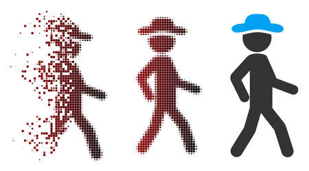 Vector walking gentleman icon in dispersed, dotted halftone and undamaged entire versions. Disintegration effect uses rectangular particles and horizontal gradient from red to black. Vectores