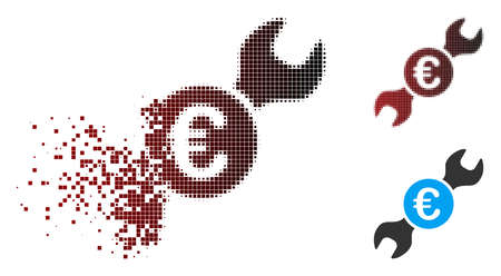 Vector Euro wrench icon in dispersed, dotted halftone and undamaged whole variants. Disappearing effect involves rectangular particles and horizontal gradient from red to black. Ilustrace