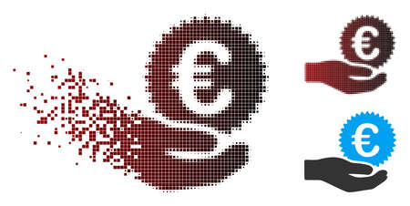Vector Euro coin offer hand icon in dissolved, dotted halftone and undamaged whole versions. Disappearing effect involves square scintillas and horizontal gradient from red to black.