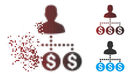Vector money collector icon in dispersed, pixelated halftone and undamaged whole variants. Disintegration effect involves square dots and horizontal gradient from red to black.