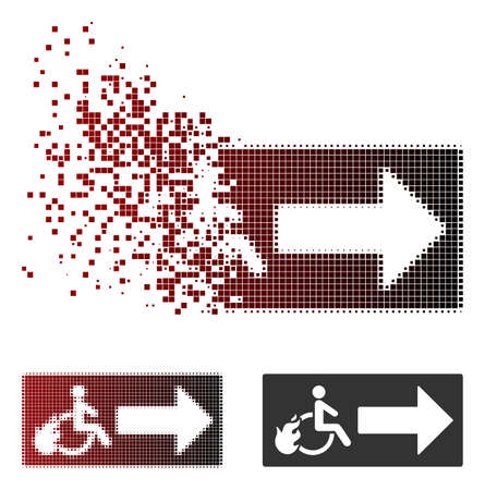 Vector patient exit icon in fractured, dotted halftone and undamaged solid variants. Disintegration effect involves rectangular scintillas and horizontal gradient from red to black.