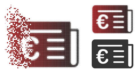 Vector Euro banking news icon in dissolved, pixelated halftone and undamaged entire variants. Disappearing effect uses square particles and horizontal gradient from red to black.