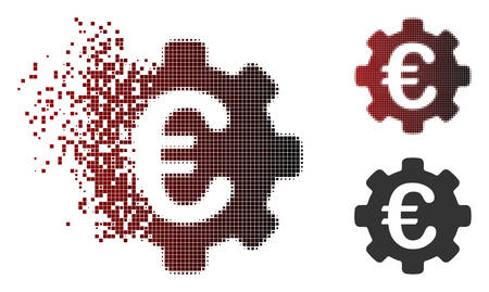 Vector Euro options icon in dispersed, pixelated halftone and undamaged solid variants. Disintegration effect uses rectangular particles and horizontal gradient from red to black.