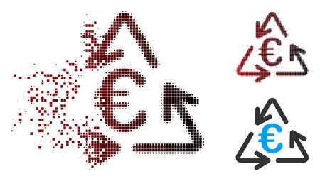 Vector Euro recycling icon in dissolved, dotted halftone and undamaged entire versions. Disintegration effect involves square particles and horizontal gradient from red to black.
