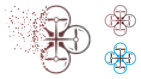 Vector quad copter icon in fractured, pixelated halftone and undamaged solid versions. Disappearing effect uses square particles and horizontal gradient from red to black.
