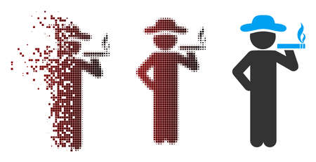 Vector smoking gentleman icon in fractured, dotted halftone and undamaged whole versions. Disintegration effect involves square particles and horizontal gradient from red to black.