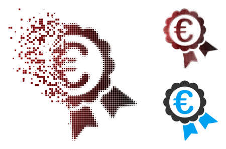 Vector Euro guarantee seal icon in dispersed, dotted halftone and undamaged entire variants. Disappearing effect involves rectangular scintillas and horizontal gradient from red to black.