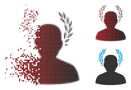 Vector caesar icon in dissolved, pixelated halftone and undamaged entire versions.