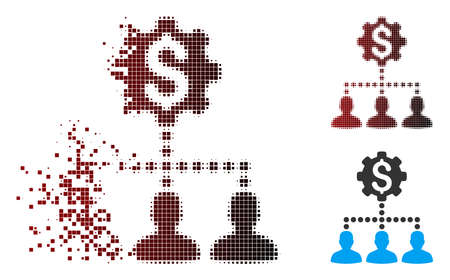 Vector industrial bank clients icon in sparkle, dotted halftone and undamaged entire versions. Disintegration effect involves rectangle particles and horizontal gradient from red to black. Illustration