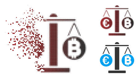 Vector Euro and Bitcoin scales icon in dispersed, dotted halftone and undamaged solid variants.