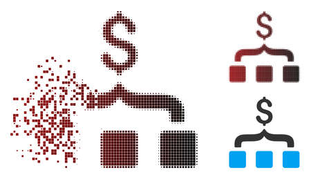 Vector collect money icon in dissolved, pixelated halftone and undamaged whole variants. Disappearing effect involves rectangular sparks and horizontal gradient from red to black. 向量圖像