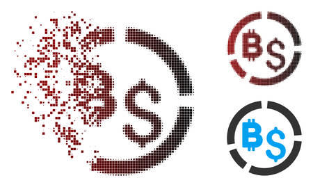 Vector Bitcoin financial diagram icon in dispersed, pixelated halftone and undamaged solid versions. Disappearing effect involves rectangular scintillas and horizontal gradient from red to black.