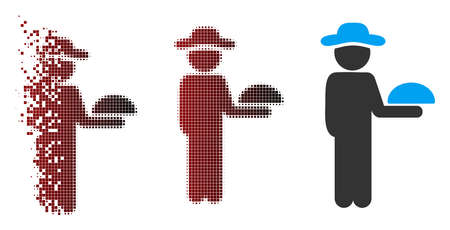 Vector gentleman waiter icon in fractured, dotted halftone and undamaged entire versions. Disappearing effect uses rectangular dots and horizontal gradient from red to black. Vectores