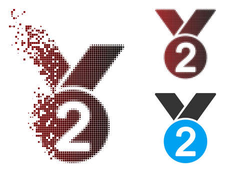 Vector silver medal icon in sparkle, dotted halftone and undamaged whole variants. Disintegration effect involves rectangle dots and horizontal gradient from red to black.