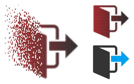 Vector exit door icon in dispersed, dotted halftone and undamaged solid variants. Disappearing effect uses rectangle sparks and horizontal gradient from red to black.