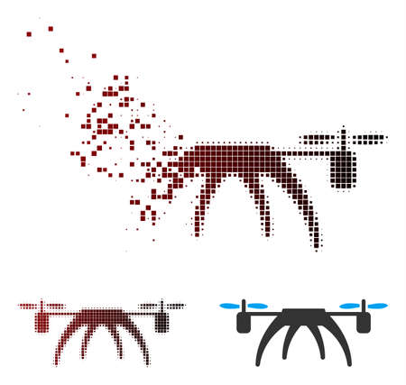Vector rotorcraft icon in dispersed, pixelated halftone and undamaged entire variants.