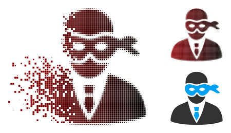 Vector masked thief icon in fractured, pixelated halftone and undamaged solid versions. Disintegration effect uses rectangular scintillas and horizontal gradient from red to black.