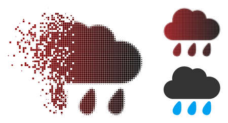 Vector rain cloud icon in dissolved, pixelated halftone and undamaged solid versions. Disappearing effect involves rectangular sparks and horizontal gradient from red to black.