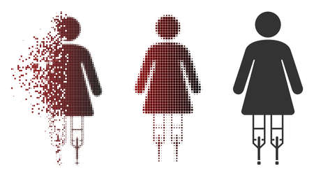 Vector woman crutches icon in fractured, pixelated halftone and undamaged solid versions. Disintegration effect uses square scintillas and horizontal gradient from red to black. Illustration