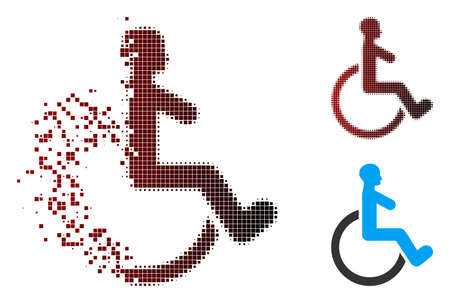 Vector wheelchair icon in dispersed, dotted halftone and undamaged entire variants. Disappearing effect involves rectangular sparks and horizontal gradient from red to black. Illustration