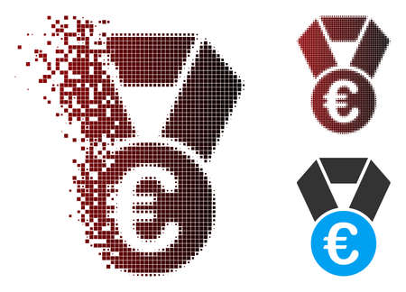 Vector Euro champion medal icon in dispersed, dotted halftone and undamaged entire versions. Disintegration effect uses rectangle particles and horizontal gradient from red to black. 向量圖像