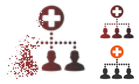 Vector medical client links icon in sparkle, dotted halftone and undamaged entire variants. Disintegration effect involves rectangle sparks and horizontal gradient from red to black.