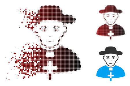 Vector catholic shepherd icon in sparkle, pixelated halftone and undamaged entire versions. Disappearing effect involves rectangle dots and horizontal gradient from red to black.