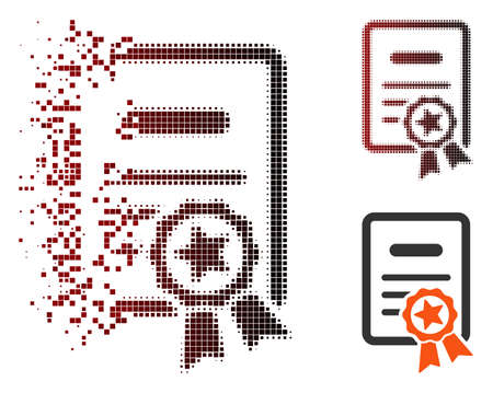 Vector certified diploma icon in fractured, pixelated halftone and undamaged whole variants. Disappearing effect involves square particles and horizontal gradient from red to black.