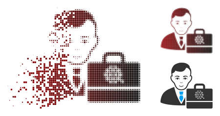 Vector qtum accounter icon in sparkle, dotted halftone and undamaged solid versions. Disintegration effect uses rectangle particles and horizontal gradient from red to black. Illustration
