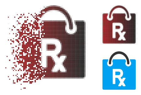 Vector receipt shopping icon in sparkle, dotted halftone and undamaged solid variants. Disappearing effect involves rectangle particles and horizontal gradient from red to black. 일러스트
