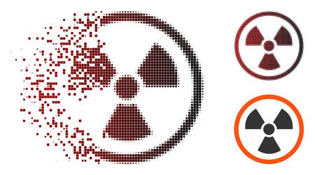 Vector radiation danger icon in dispersed, dotted halftone and undamaged solid versions. Disappearing effect involves rectangular sparks and horizontal gradient from red to black. Illustration