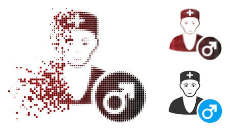 Vector andrologist doctor icon in dissolved, pixelated halftone and undamaged solid variants. Disappearing effect involves rectangular dots and horizontal gradient from red to black. Illustration