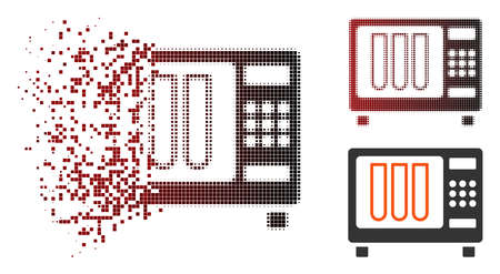 Vector sterilizer icon in sparkle, dotted halftone and undamaged solid versions. Disintegration effect involves square scintillas and horizontal gradient from red to black.