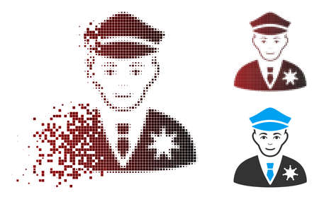 Vector sheriff icon in dispersed, dotted halftone and undamaged whole versions. Disappearing effect uses rectangle sparks and horizontal gradient from red to black.