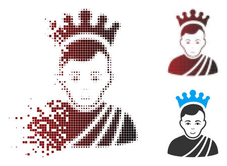 Vector emperor icon in dissolved, pixelated halftone and undamaged entire versions. Disintegration effect uses rectangular sparks and horizontal gradient from red to black.