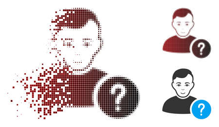 Vector user status icon in dissolved, dotted halftone and undamaged solid versions. Disintegration effect involves rectangular particles and horizontal gradient from red to black.