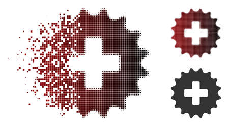 Vector plus stamp icon in dissolved, pixelated halftone and undamaged whole versions. Disappearing effect uses square particles and horizontal gradient from red to black.