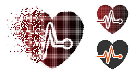 Vector heart pulse icon in sparkle, dotted halftone and undamaged solid versions. Disappearing effect involves rectangle dots and horizontal gradient from red to black.