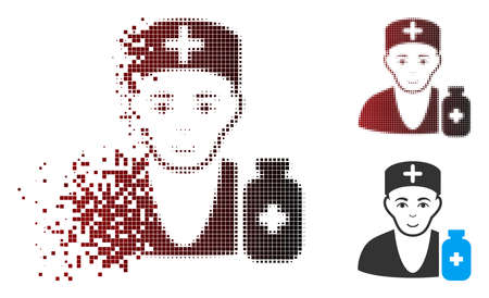 Vector apothecary doctor icon in sparkle, dotted halftone and undamaged whole versions. Disappearing effect uses rectangle particles and horizontal gradient from red to black.
