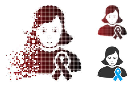 Vector girl with sympathy ribbon icon in dispersed, dotted halftone and undamaged entire versions. Disappearing effect involves square dots and horizontal gradient from red to black.
