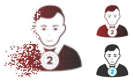 Vector 2nd prizer sportsman icon in sparkle, dotted halftone and undamaged whole versions. Disappearing effect uses rectangular dots and horizontal gradient from red to black.