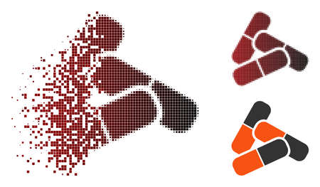 Vector pills icon in sparkle, dotted halftone and undamaged solid versions.