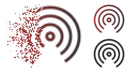 Vector airdrop center icon in fractured, dotted halftone and undamaged entire versions. Disappearing effect involves rectangle dots and horizontal gradient from red to black.