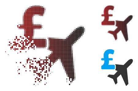 Vector aviation pound business icon in dissolved, dotted halftone and undamaged whole versions. Disintegration effect involves rectangular particles and horizontal gradient from red to black. Illustration