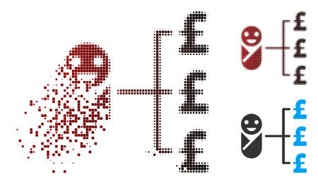 Vector baby pound expenses icon in sparkle, dotted halftone and undamaged whole variants. Disintegration effect uses square dots and horizontal gradient from red to black. Illustration