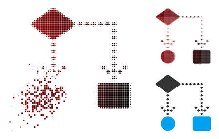 Vector algorithm scheme icon in fractured, dotted halftone and undamaged entire versions. Disappearing effect involves square particles and horizontal gradient from red to black.
