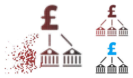 Vector bank pound expenses icon in fractured, dotted halftone and undamaged solid variants. Disappearing effect uses square sparks and horizontal gradient from red to black.